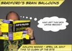 """Logo for Bradford's Brain Balloons stating Time to Clean Up The Site, with a thought bubble of """"Who left this data laying around?"""""""