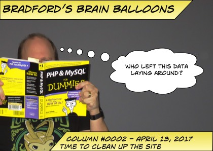 "Logo for Bradford's Brain Balloons stating Time to Clean Up The Site, with a thought bubble of ""Who left this data laying around?"""