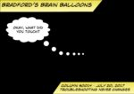 """Bradford's Brain Balloon #0014 - Troubleshooting Never Ends. A black square with the thought bubble of """"Okay, what did you touch?"""""""