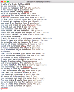 A picture of the text after Moleskine software tried to transcribe my handwdriting.