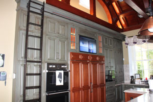Olin Mansion kitchen with TV